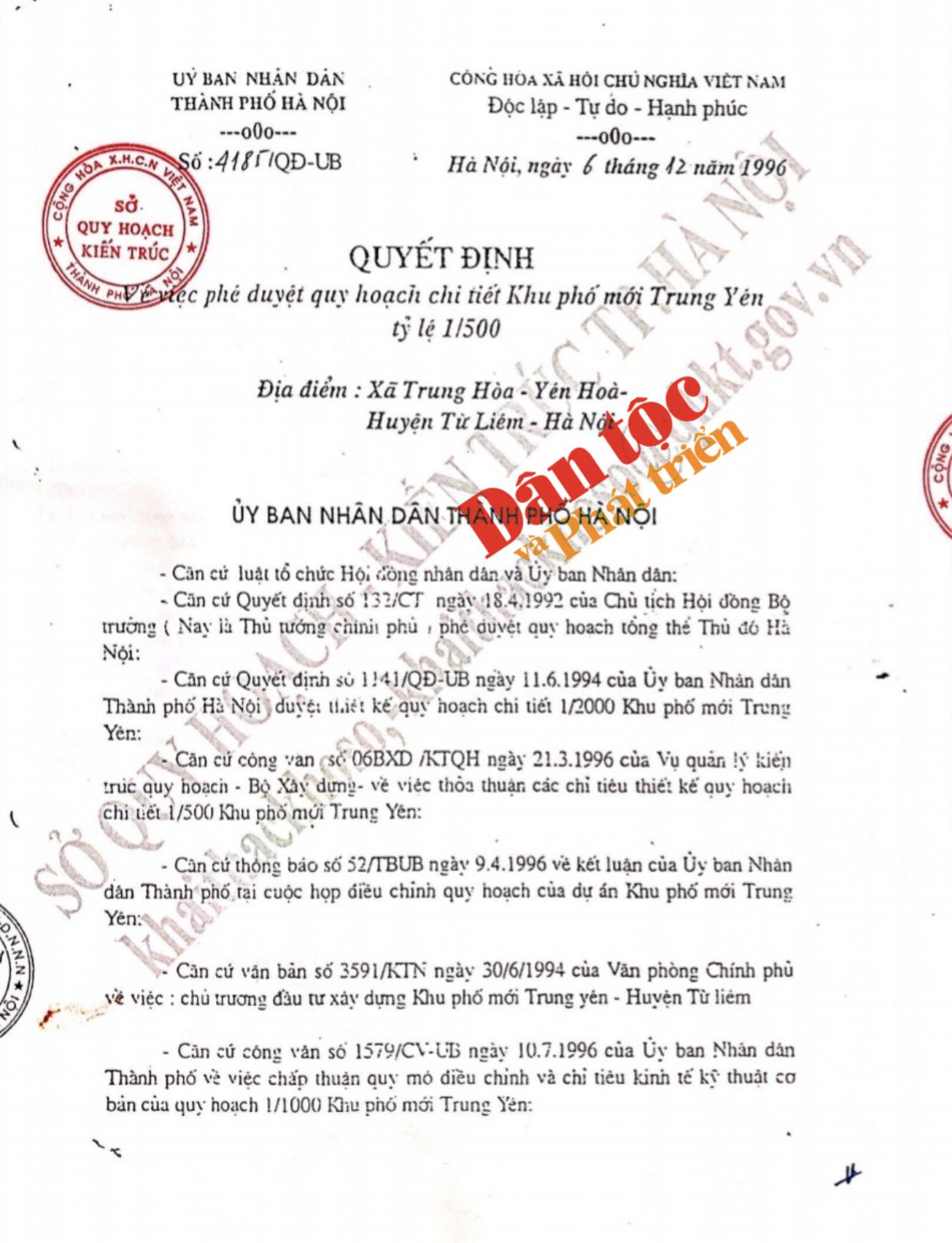 Theo Quyết định số:4185/QĐ-UB và Bản đồ quy hoạch 1/500 thì nhà ông Quý và ông Vệ không thuộc diện thu hồi.