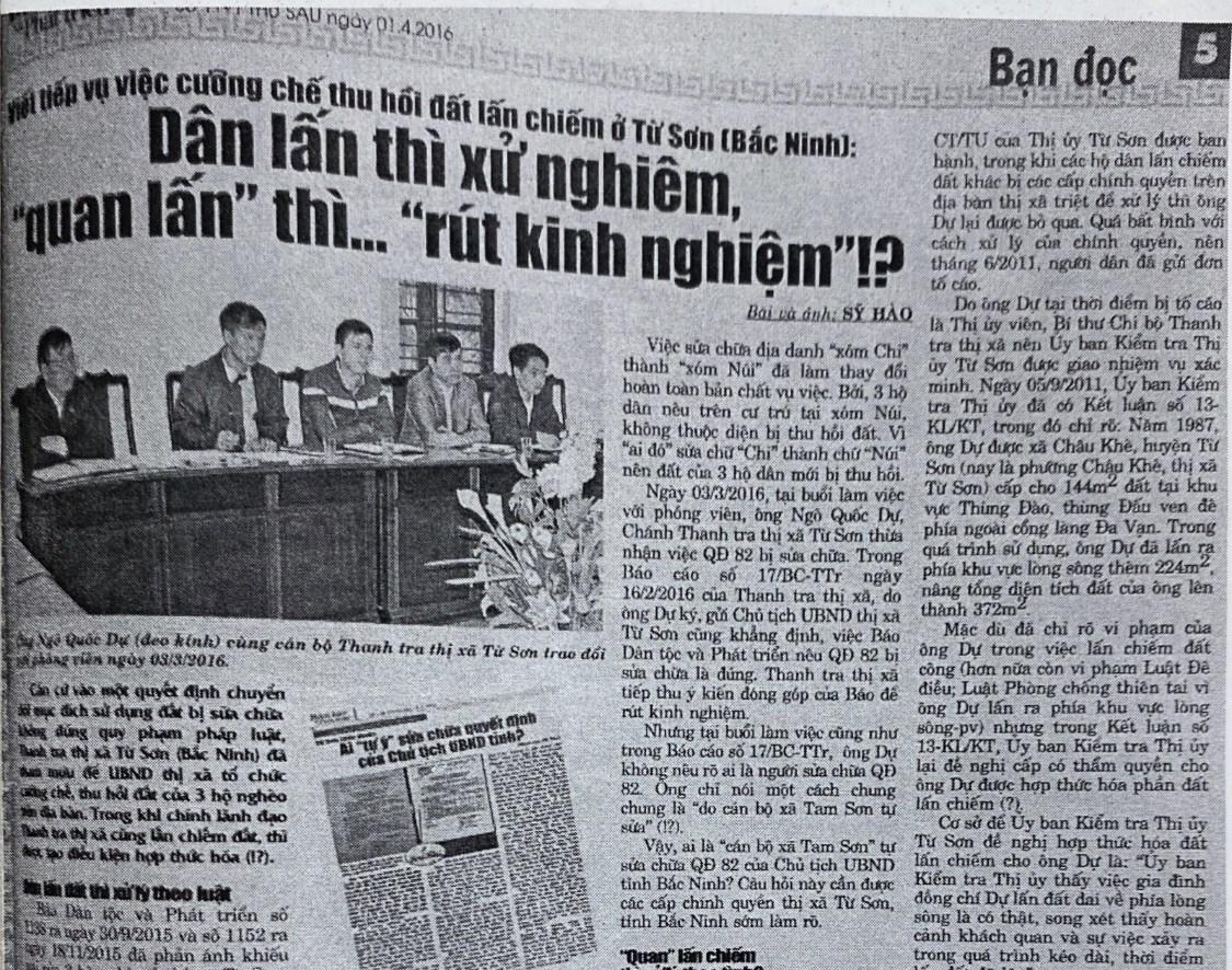 Báo Dân tộc và Phát triển đã có nhiều bài viết làm rõ những ẩn khuất đằng sau việc thu hồi đất của UBND thị xã Từ Sơn đối với 3 hộ nghèo ở xã Tam Sơn
