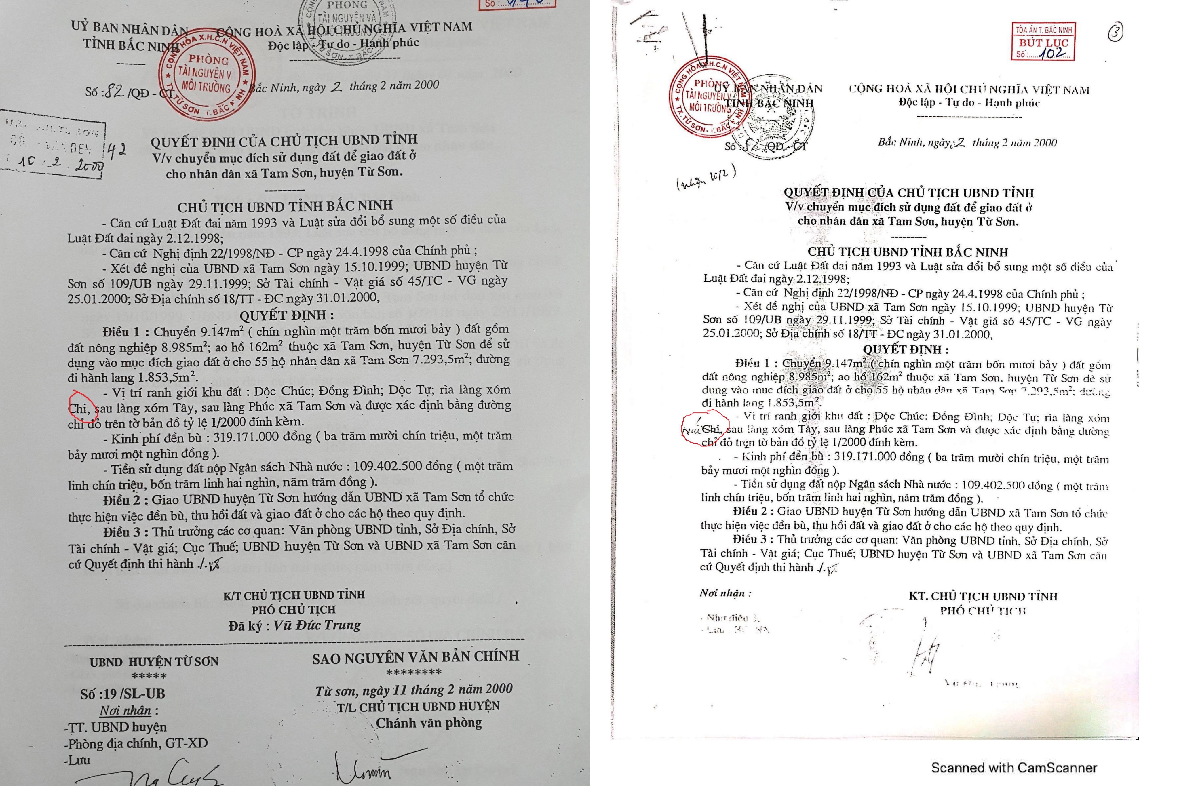 QĐ 82 của Chủ tịch UBND tỉnh Bắc Ninh bị Thanh tra thị xã Từ Sơn sửa chữa trái pháp luật