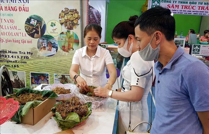 Du khách và người dân tham quan, mua sắm tại Phiên chợ sâm Ngọc Linh lần thứ 39. Ảnh: Trịnh Bang Nhiệm/TTXVN