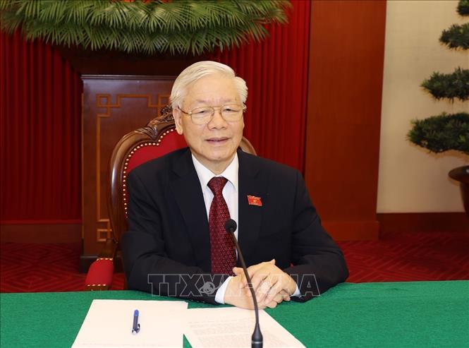 Tổng Bí thư Nguyễn Phú Trọng điện đàm trực tiếp với Tổng thống Liên bang Nga Vladimir Putin. Ảnh: Trí Dũng/TTXVN