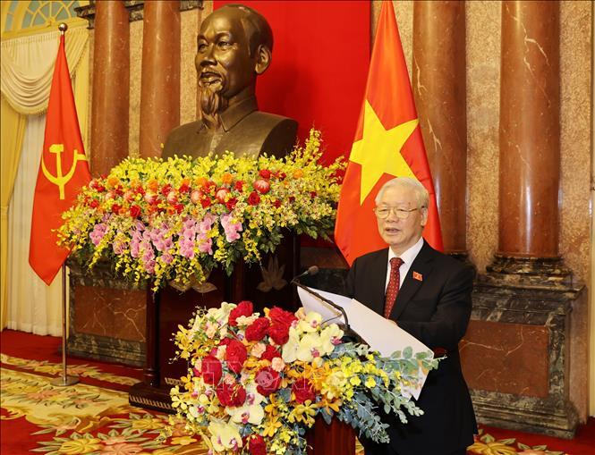 Tổng Bí thư Nguyễn Phú Trọng phát biểu tại Lễ bàn giao. Ảnh: Trí Dũng/TTXVN