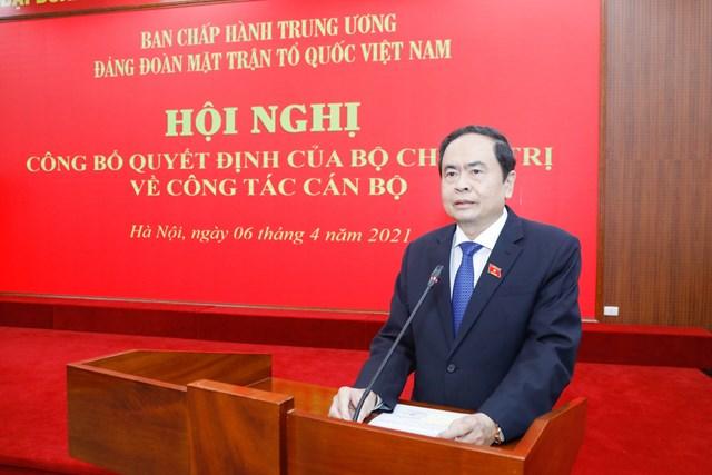 Ủy viên Bộ Chính trị, Phó Chủ tịch Thường trực Quốc hội, Chủ tịch Ủy ban Trung ương MTTQ Việt Nam Trần Thanh Mẫn phát biểu tại Hội nghị