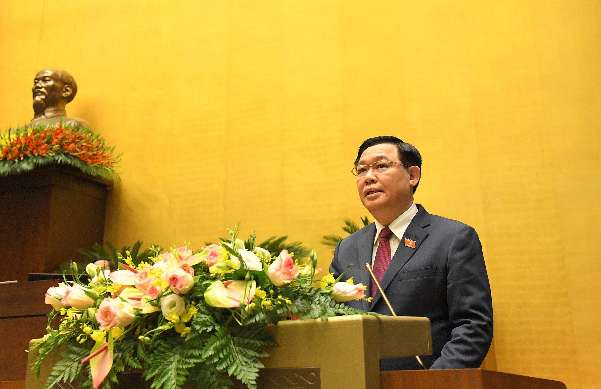 Chủ tịch Quốc hội Vương Đình Huệ phát biểu bế mạc kỳ họp