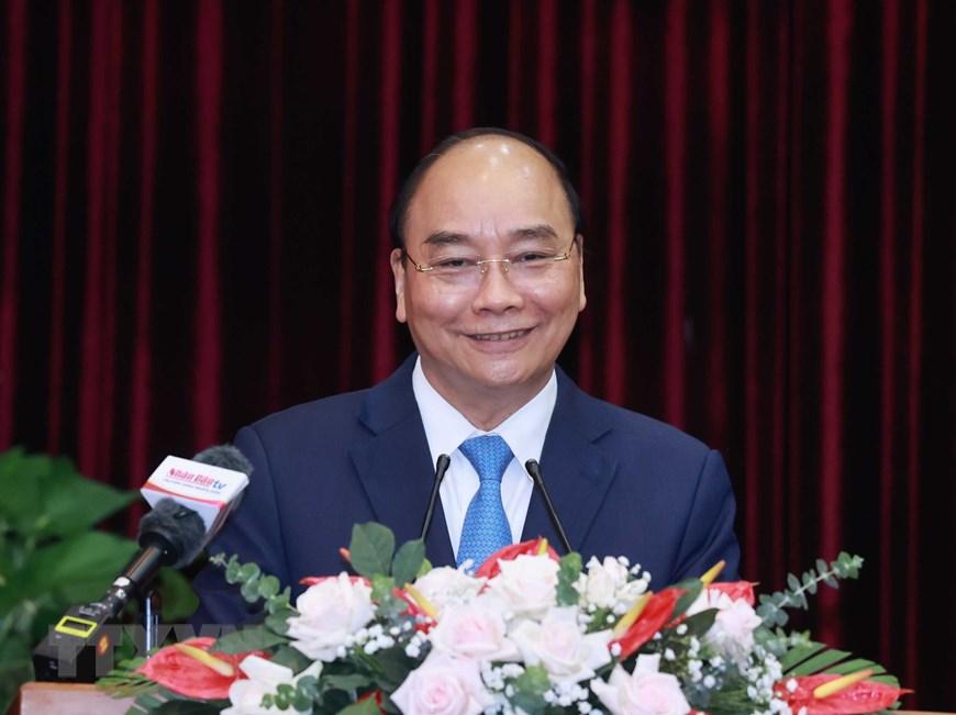 Chủ tịch nước Nguyễn Xuân Phúc phát biểu tại buổi làm việc. Ảnh: Thống Nhất/TTXVN