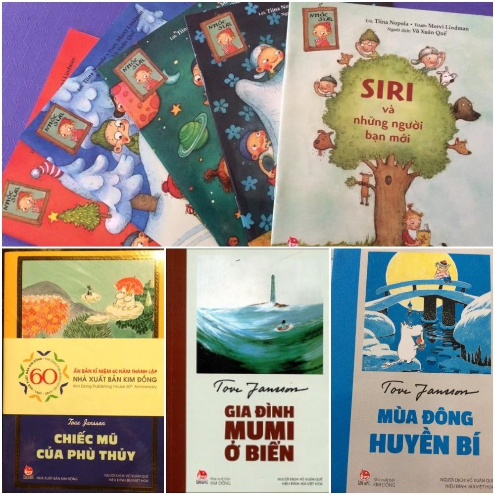 """Một số cuốn sách được dịch sang tiếng Việt mà người mẹ Phần Lan cất công mua bởi """"muốn đọc sách cho con của mình nghe bằng cả hai thứ tiếng"""". (Ảnh: TGCC)"""