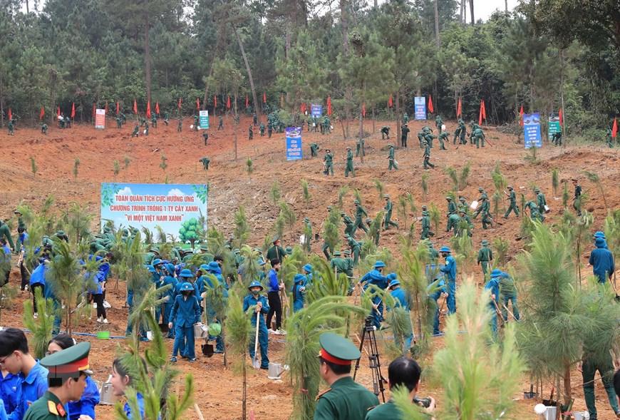 Các lực lượng tham gia trồng cây. Ảnh: Trọng Đức/TTXVN