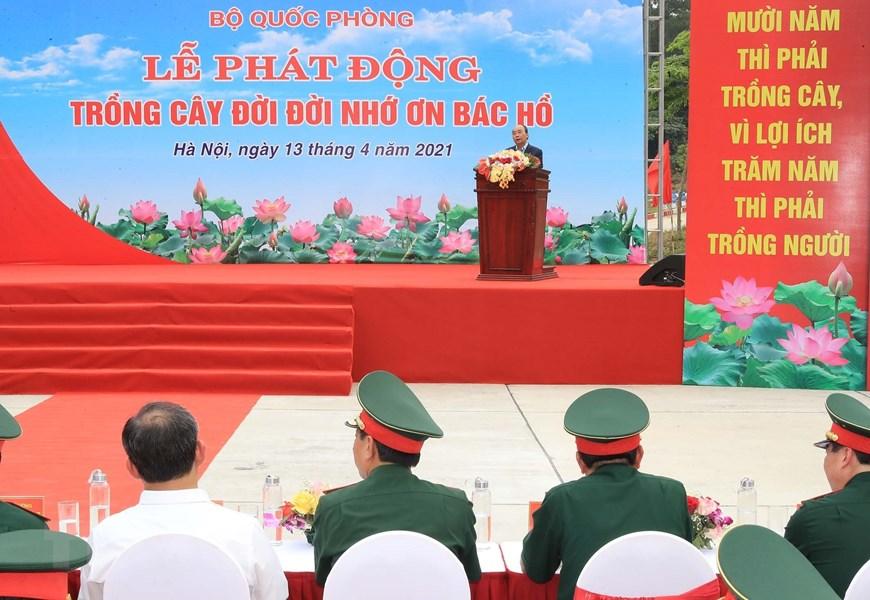 Chủ tịch nước Nguyễn Xuân Phúc phát biểu tại Lễ phát động trồng cây. Ảnh: Trọng Đức/TTXVN