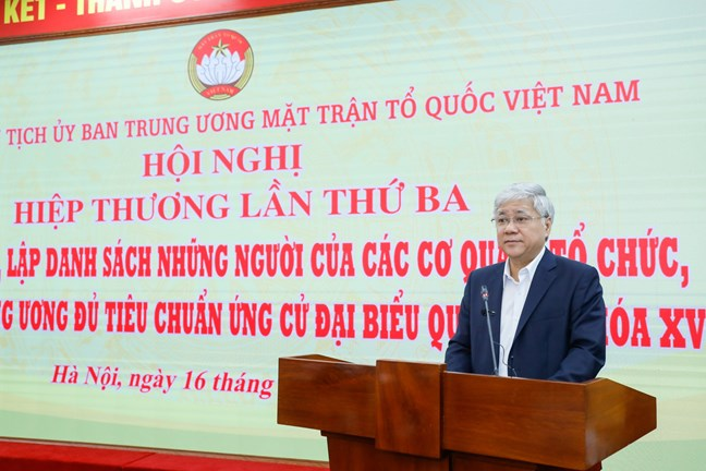 Đồng chí Đỗ Văn Chiến, Bí thư Trung ương Đảng, Bí thư Đảng đoàn, Chủ tịch Ủy ban Trung ương MTTQ Việt Nam phát biểu tại Hội nghị.