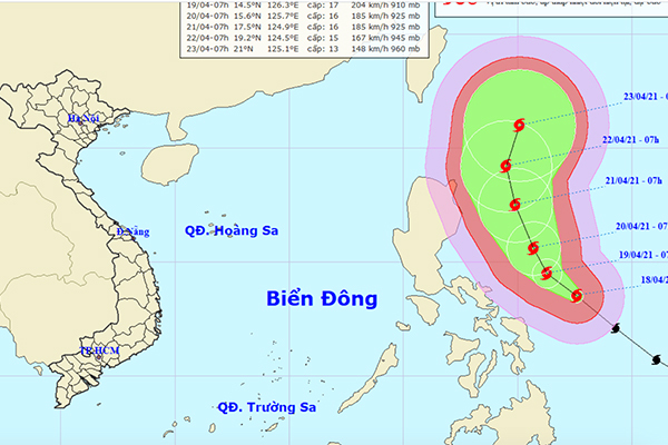 Dự báo hướng đi của siêu bão Surigae. Ảnh: NCHMF