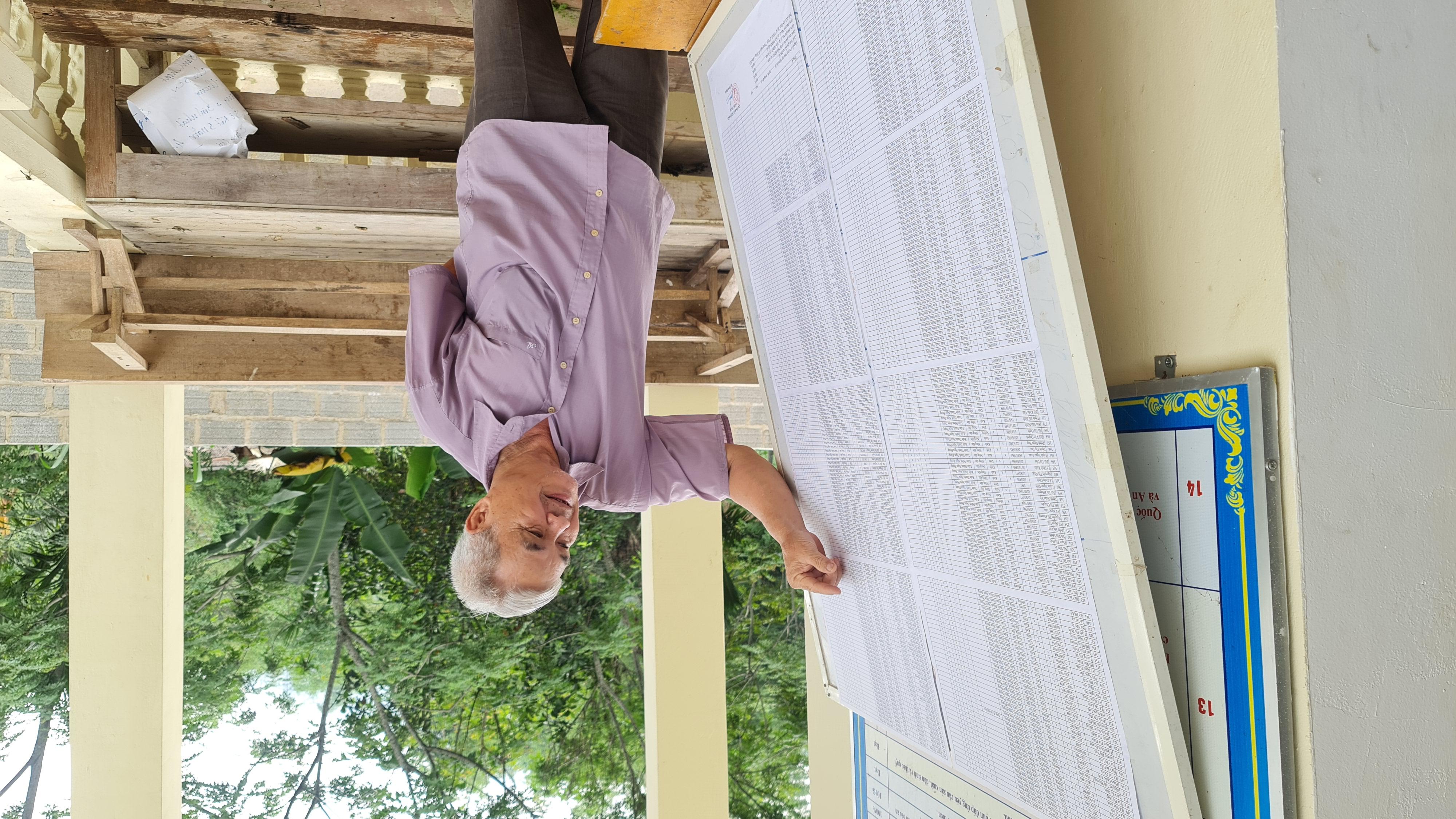 Ông Lê Đức Tiến giới thiệu về danh sách niêm yết cử tri tại Nhà văn hóa thôn Xuân Thành, xã Ngọc Phụng, huyện Thường Xuân.