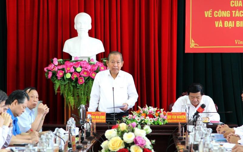Phó Thủ tướng Thường trực Chính phủ Trương Hòa Bình phát biểu tại buổi làm việc