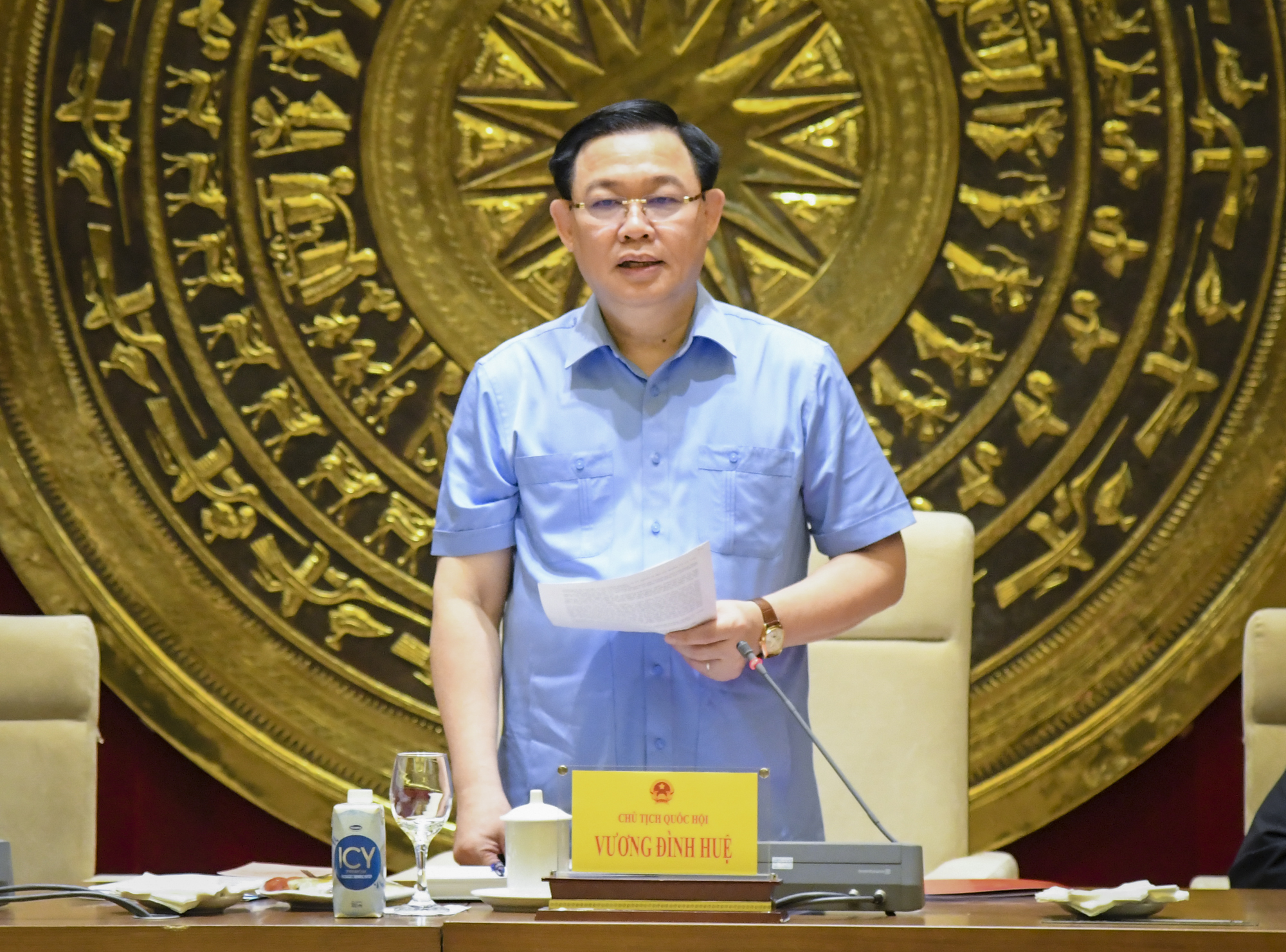 Ủy viên Bộ Chính trị, Chủ tịch Quốc hội Vương Đình Huệ phát biểu chỉ đạo tại buổi làm việc