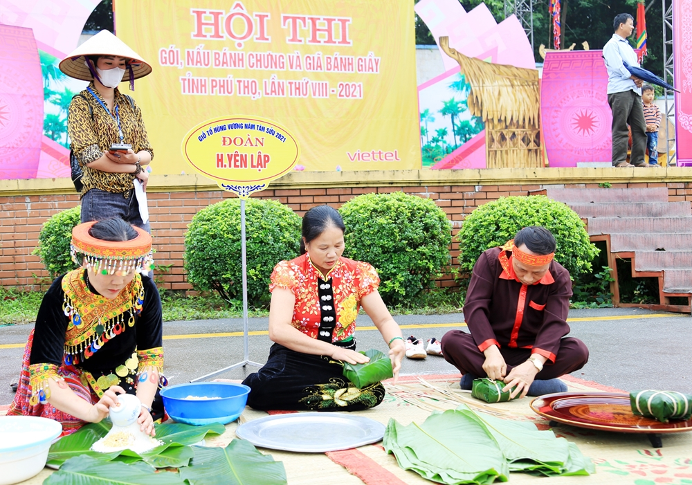Hội thi gói, nấu bánh chưng và giã bánh giày tỉnh Phú Thọ lần VIII năm 2021 được tổ chức tại sân Trung tâm Lễ hội Khu di tích lịch sử Đền Hùng