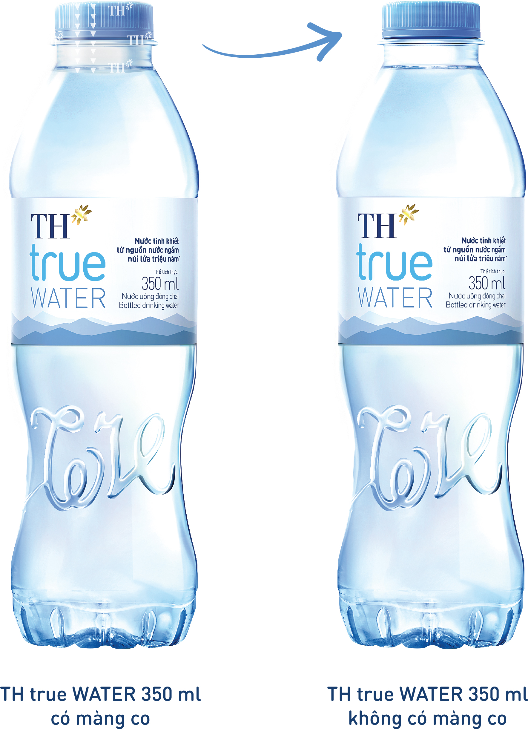 Từ tháng 02/2021TH ngưng sử dụng màng co nắp chai đối với sản phẩm TH true WATER 350 ml nhằm góp phần bảo vệ môi trường