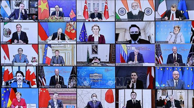 Hội nghị Thượng đỉnh về Khí hậu được tổ chức theo hình thức trực tuyến từ ngày 22 đến ngày 23/4/2021. Ảnh: Thống Nhất/TTXVN
