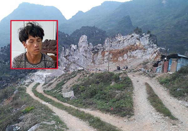Nghi phạm Già Mí Lùng và hiện trường bãi khai thác đá thôn Lũng Lầu, xã Khâu Vai, huyện Mèo Vạc.
