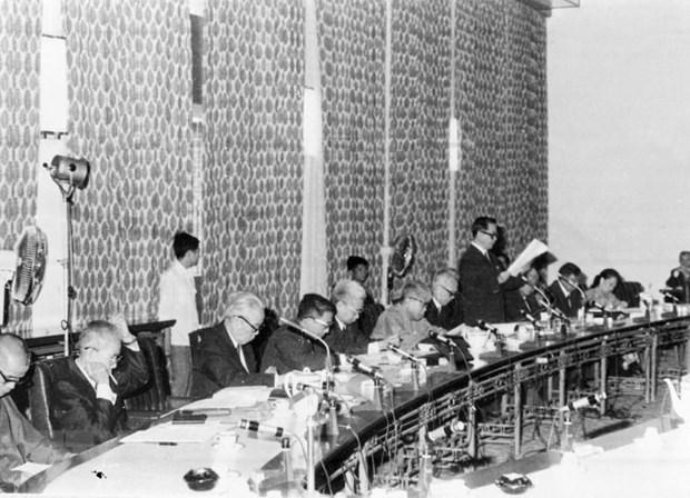 Hội đồng bầu cử toàn quốc họp phiên thứ nhất, ngày 21-22/2/1976, tại Sài Gòn (từ 2/7/1976 được đổi tên là Thành phố Hồ Chí Minh). (Ảnh: TTXVN)