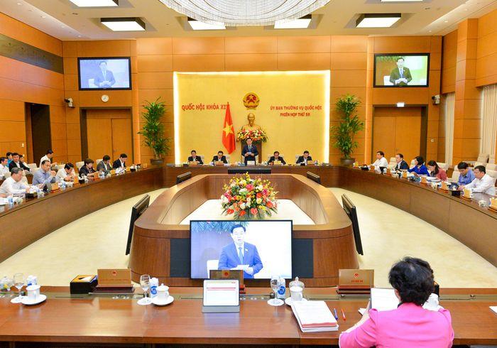 Chủ tịch Quốc hội Vương Đình Huệ phát biểu khai mạc Phiên họp lần thứ 55 của Ủy ban Thường vụ Quốc hội