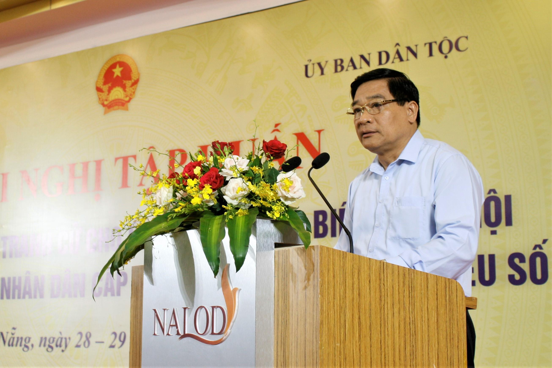 Chủ tịch Hội đồng Dân tộc của Quốc hội Hà Ngọc Chiến phát biểu tại Hội nghị