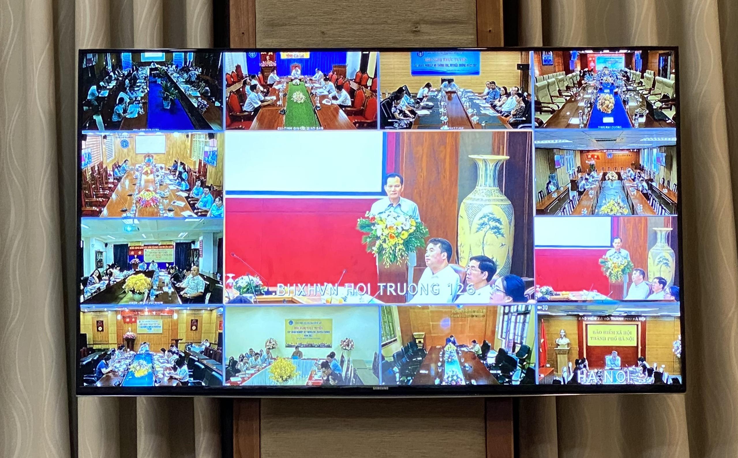Hội nghị trực tuyến tới 63 điểm cầu tại Bảo hiểm xã hội các tỉnh, thành phố trực thuộc Trung ương và hơn 700 điểm cầu tại Bảo hiểm xã hội các quận, huyện