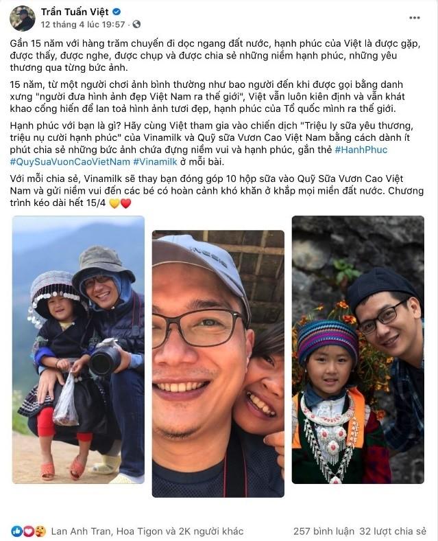 Bài viết hưởng ứng chiến dịch của nhiếp ảnh gia Trần Tuấn Việt đã nhận hơn 2.000 lượt thích và chia sẻ