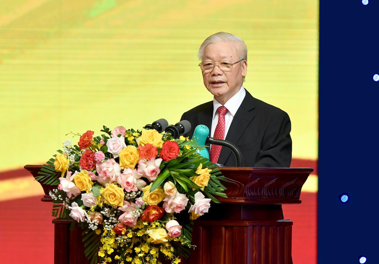 Tổng Bí thư Nguyễn Phú Trọng phát biểu tại Lễ kỷ niệm. Ảnh:VGP