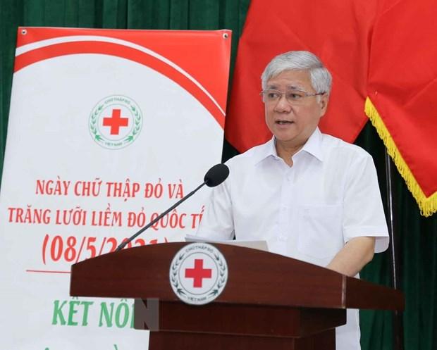 Ông Đỗ Văn Chiến, Bí thư Trung ương Đảng, Chủ tịch UBTW Mặt trận Tổ quốc Việt Nam phát biểu tại lễ phát động. (Ảnh: Thanh Tùng/TTXVN)