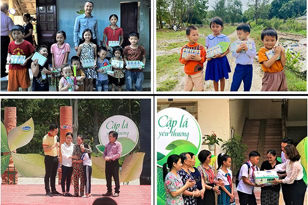 """Các bạn nhỏ tại Nghệ An, Quảng Trị, Vĩnh Long và Đà Nẵng nhận hỗ trợ từ Vinamilk và chương trình """"Cặp lá yêu thương"""" trong những năm trước"""