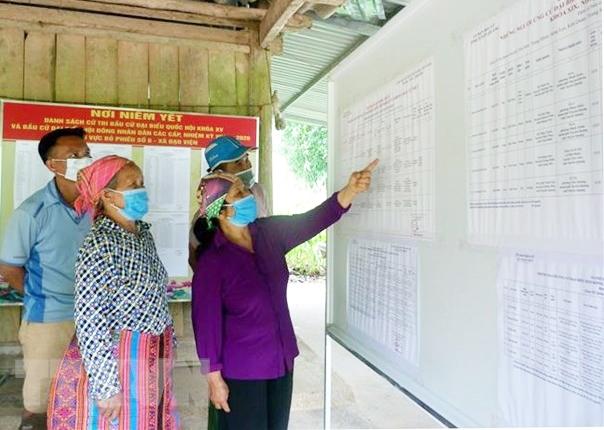 Cử tri thôn Ngòi Rịa, xã Đạo Viện, huyện Yên Sơn (Tuyên Quang) tìm hiểu thông tin về các ứng cử viên tại điểm niêm yết thông tin của thôn. (Ảnh: Vũ Quang Đán/TTXVN)