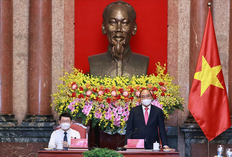 Chủ tịch nước Nguyễn Xuân Phúc phát biểu tại buổi tiếp. (Ảnh: Thống Nhất/TTXVN)