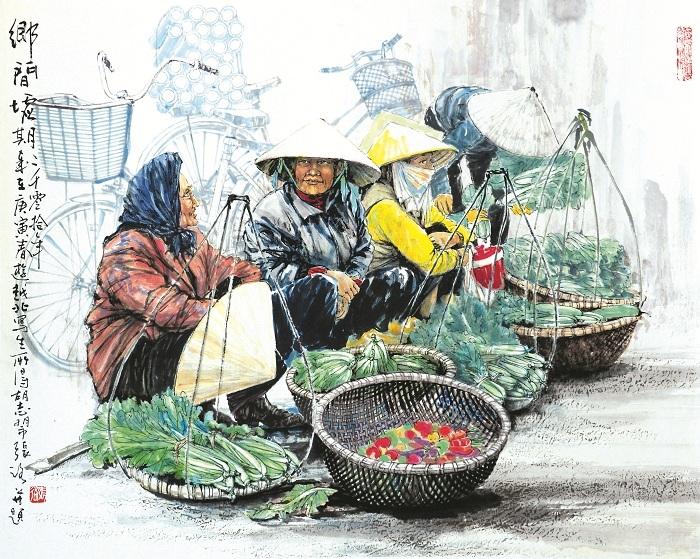 """Tác phẩm """"Những người phụ nữ ở chợ phiên vùng đồng bằng Bắc bộ"""" của họa sĩ Trương Lộ"""