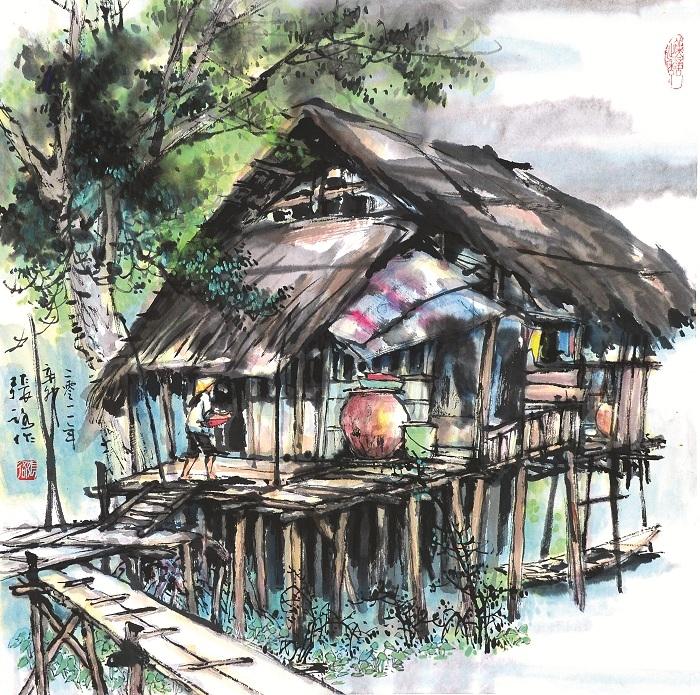Một tác phẩm tranh thủy mặc của họa sĩ Trương Lộ