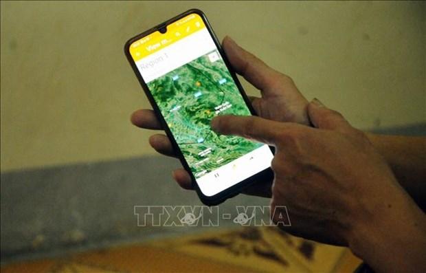 Hạt Kiểm lâm huyện Phù Yên là đơn vị tiên phong trên địa bàn tỉnh Sơn La ứng dụng các phần mềm trong công tác quản lý và bảo vệ rừng. Ảnh: Quang Quyết-TTXVN