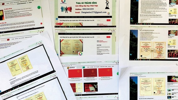 Các loại văn bằng, chứng chỉ được rao nhận làm giả công khai trên mạng