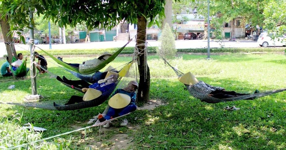 Giấc ngủ trưa khó nhọc giữa nắng nóng thành Vinh