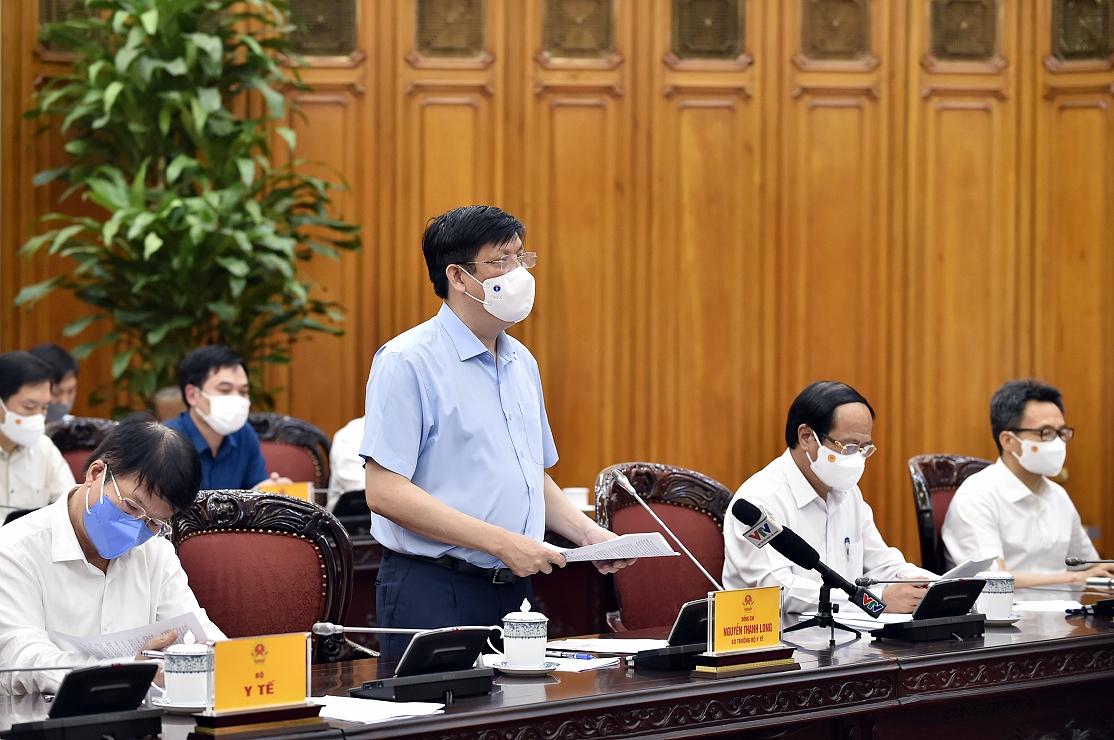 Bộ trưởng Bộ Y tế Nguyễn Thanh Long phát biểu tại cuộc họp. - Ảnh: VGP/Nhật Bắc