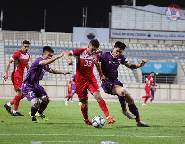 Đội tuyển Việt Nam trong trận giao hữu với Jordan. Ảnh: VFF.