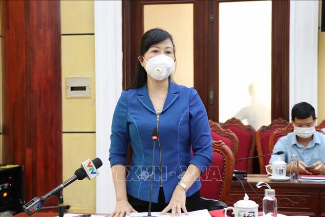 Bí thư Tỉnh ủy Bắc Ninh Đào Hồng Lan phát biểu tại buổi làm việc.