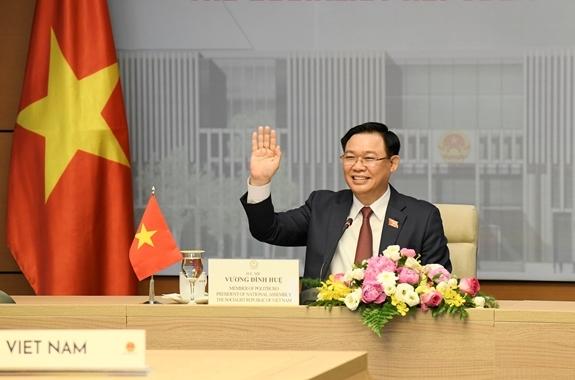 Chủ tịch Quốc hội Vương Đình Huệ tại cuộc hội đàm
