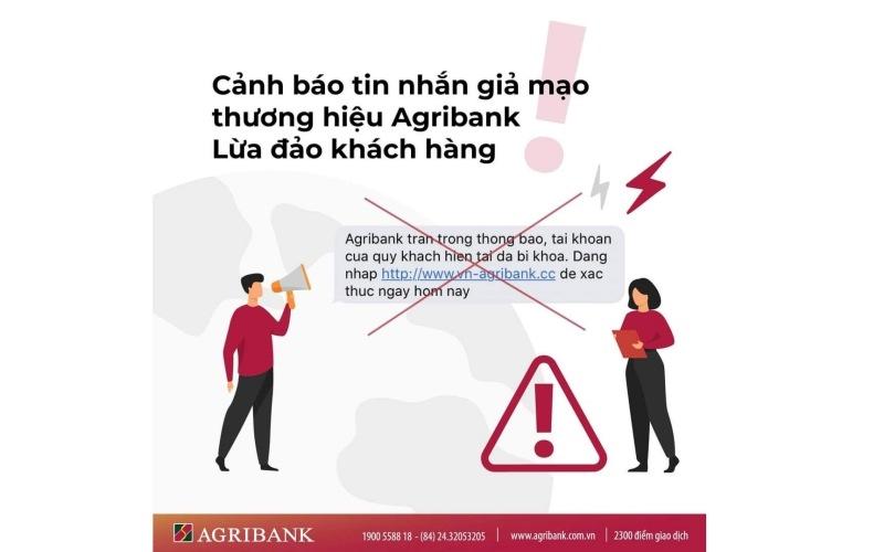 Cảnh báo tin nhắn giả mạo thương hiệu Agribank lừa đảo khách hàng