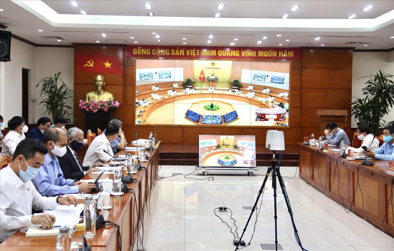 Các đại biểu tham dự Hội nghị trực tuyến tại điểm cầu Bộ Nông nghiệp và Phát triển nông thôn