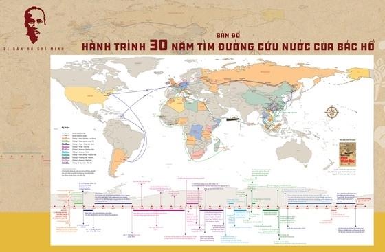Bản đồ Hành trình 30 năm tìm đường cứu nước của Bác Hồ.Ảnh: NXB Trẻ.