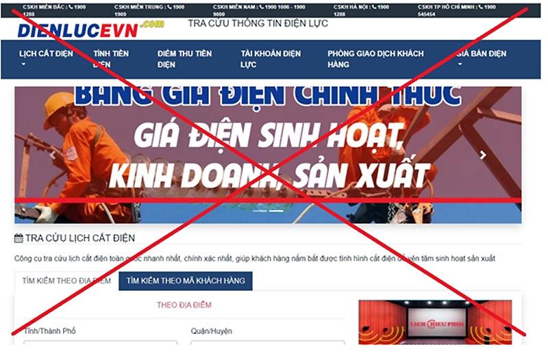 Xuất hiện trang web giả mạo thương hiệu EVN