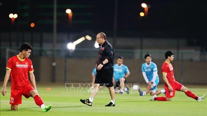 Thầy trò HLV Park Hang-seo phải thể hiện tốt khả năng cạnh tranh của mình tại giải, trước tiên là phải đảm bảo một chiến thắng trước Indonesia vào ngày 7/6 tới. Ảnh: TTXVN.
