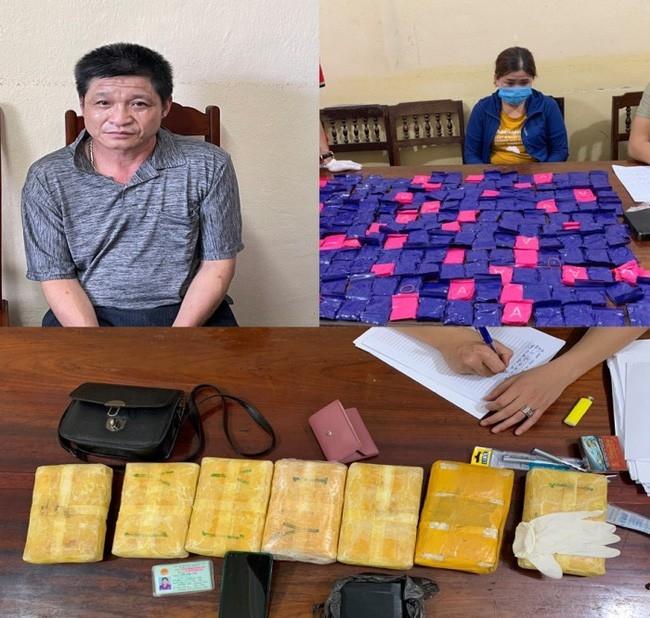 Hai đối tượng Len Văn Thành và Vi Thị Thu cùng tang vật liên quan đến vụ án. Ảnh: Báo Giao thông