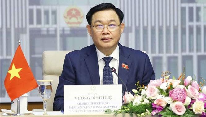 Chủ tịch Quốc hội Vương Đình Huệ tại cuộc hội đàm trực tuyến - Ảnh: Doãn Tấn - TTXVN