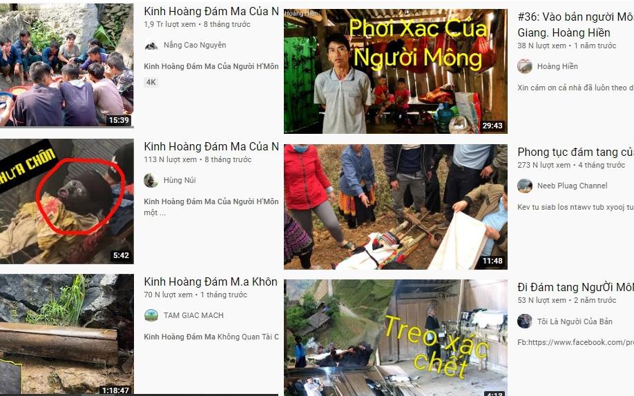 Các video về đám ma của đồng bào DTTS trên mạng xã hội