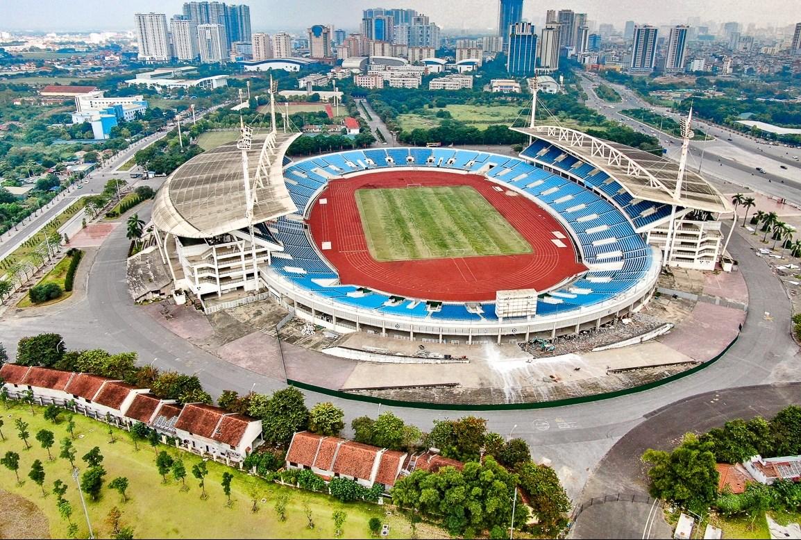 Sân vận động Mỹ Đình được sửa chữa và nâng cấp để chuẩn bị tổ chức SEA Games 31. Ảnh: Trung Nguyên