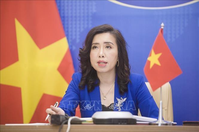 Người Phát ngôn Bộ Ngoại giao Lê Thị Thu Hằng trả lời tại cuộc họp báo thường kỳ của Bộ Ngoại giao. Ảnh: TTXVN phát